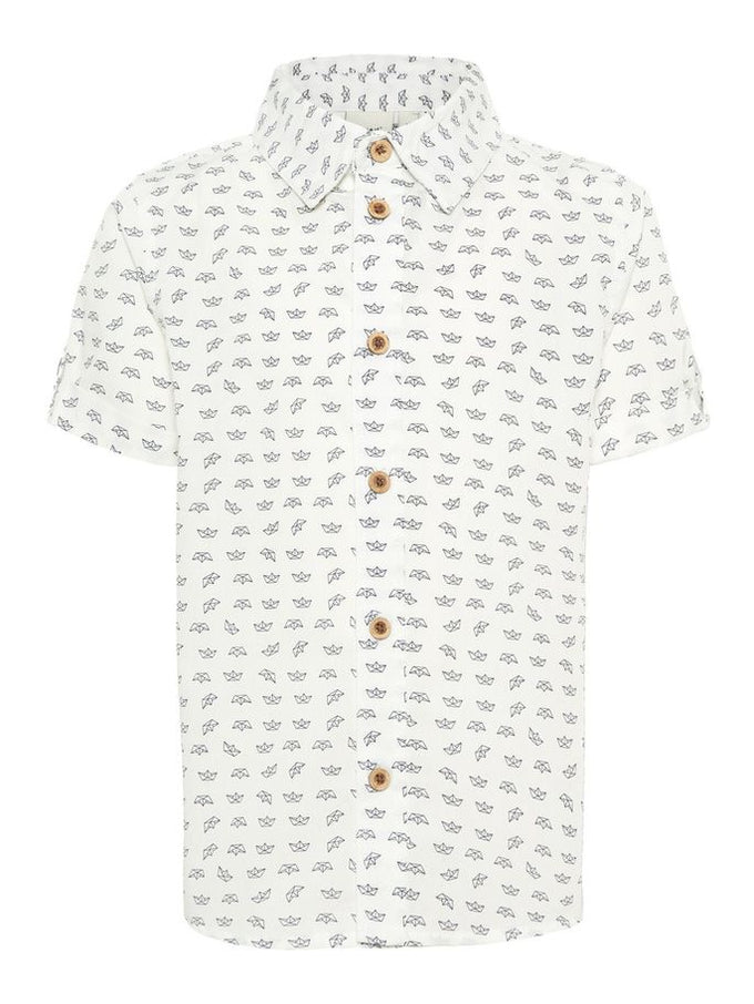 SHORT SLEEVE SHIRT WITH LARGE BUTTONS Bright White