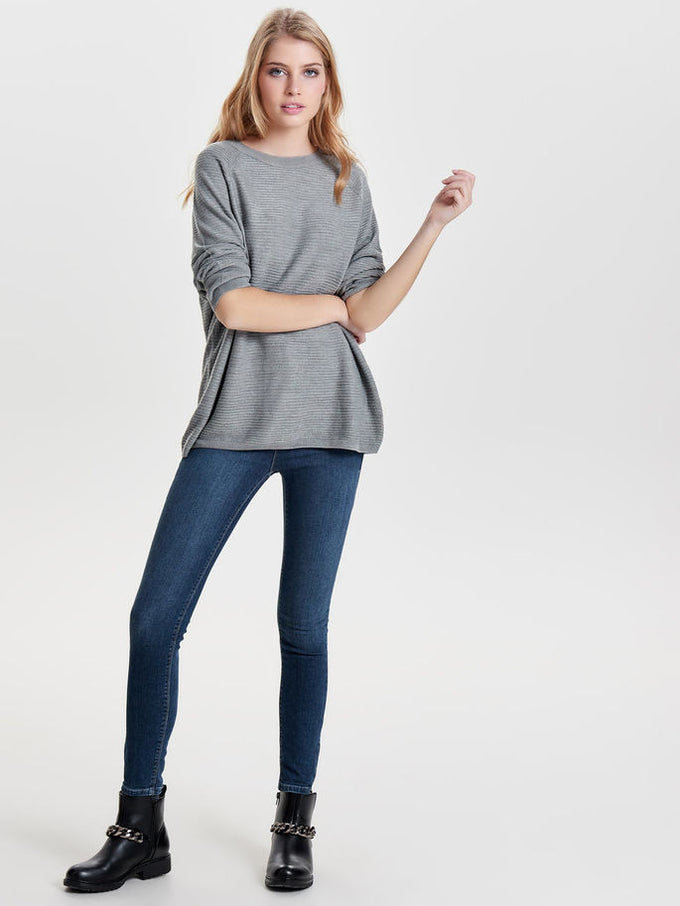 CUTE COLOURFUL SWEATER Light Grey Melange
