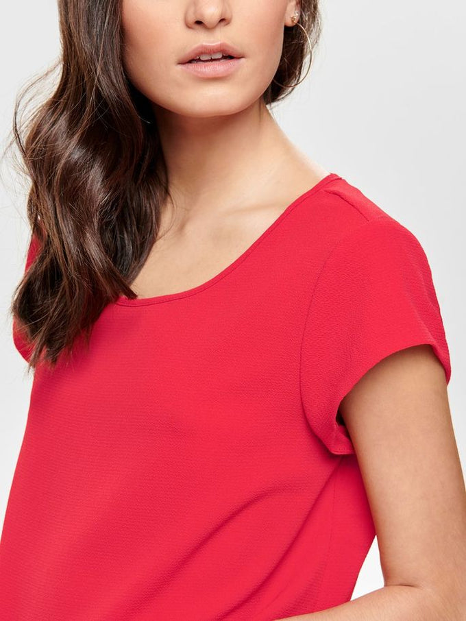 COLOURFUL CREPE BLOUSE High Risk Red
