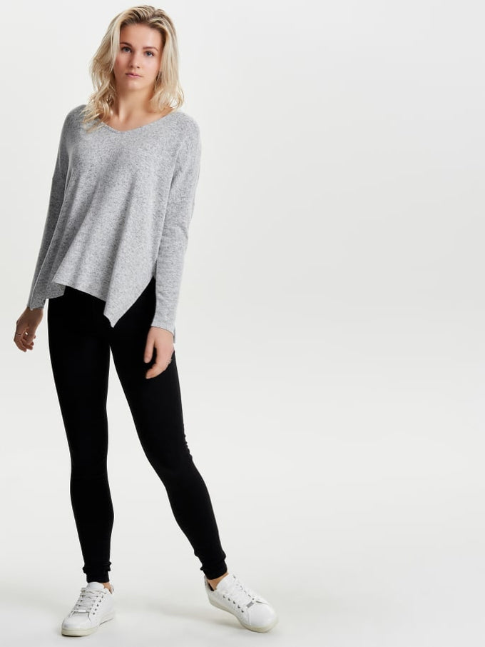 HIGH-LOW SOFT SWEATER Tawny Port