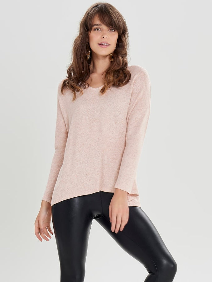 HIGH-LOW SOFT SWEATER Rose Dawn