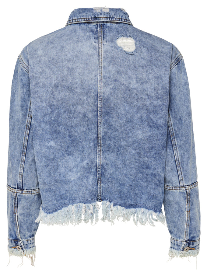 DESTROYED DENIM JACKET Light Blue Denim