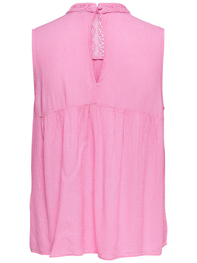 HIGH NECK CREPE BLOUSE Begonia Pink