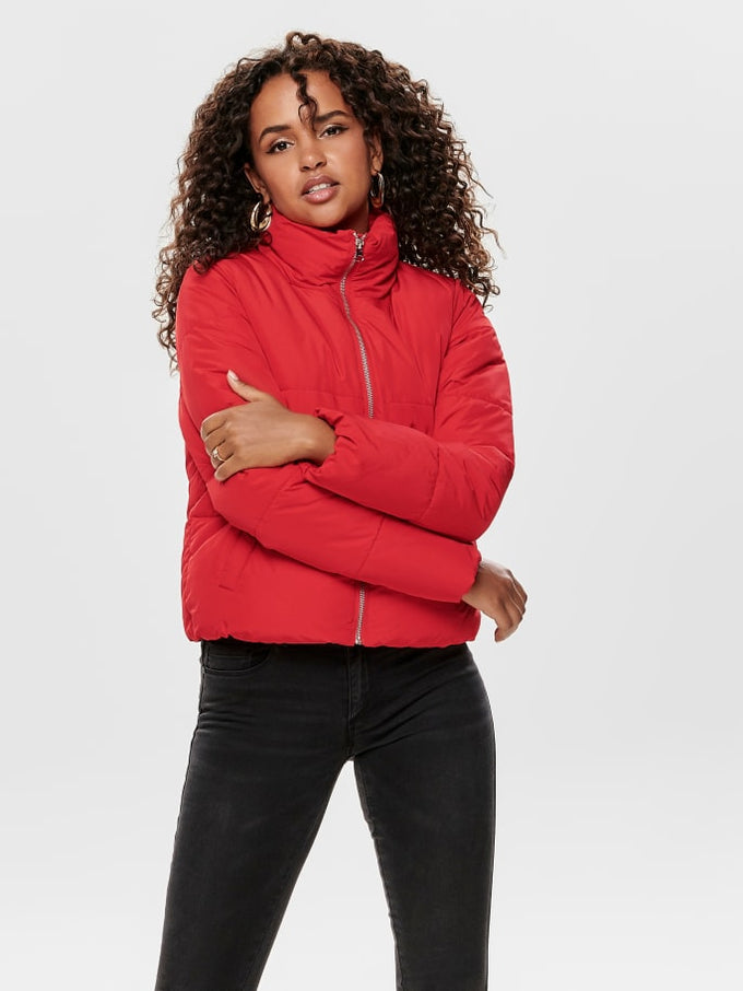 SHORT PUFFER JACKET Goji Berry