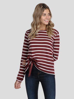 STRIPED T-SHIRT WITH BOW DETAIL