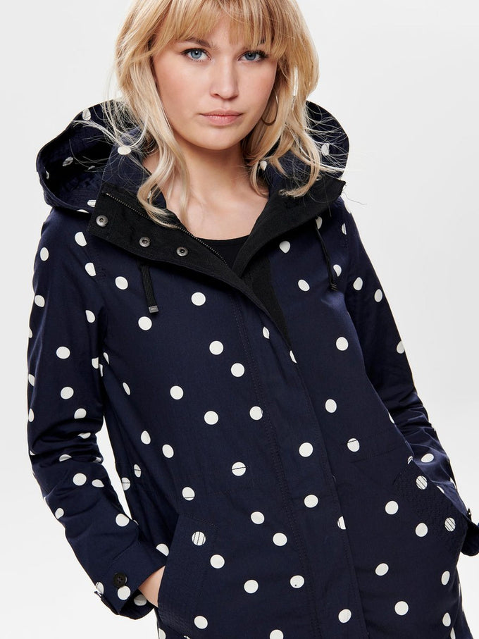 LONG CANVAS PARKA WITH POLKA DOTS Night Sky