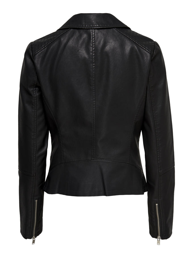 CLASSIC FAUX-LEATHER MOTO JACKET Black