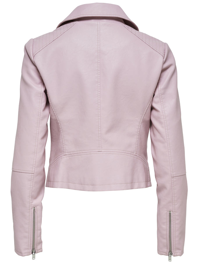 CLASSIC FAUX-LEATHER MOTO JACKET Pink Nectar
