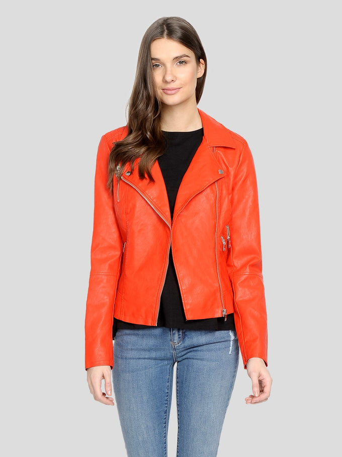 CLASSIC FAUX-LEATHER MOTO JACKET Orange.Com