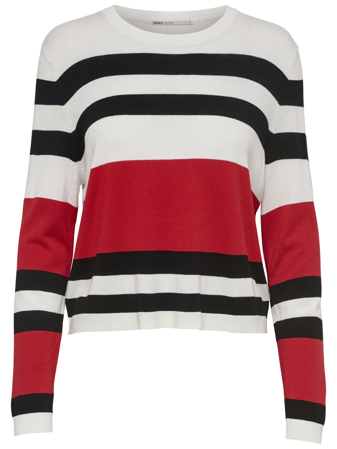 SHORT STRIPED SWEATER Black