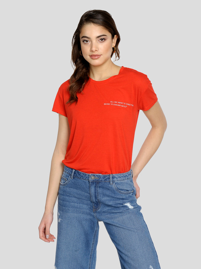 FINAL SALE – CUTE EMBROIDERED T-SHIRT Fiery Red