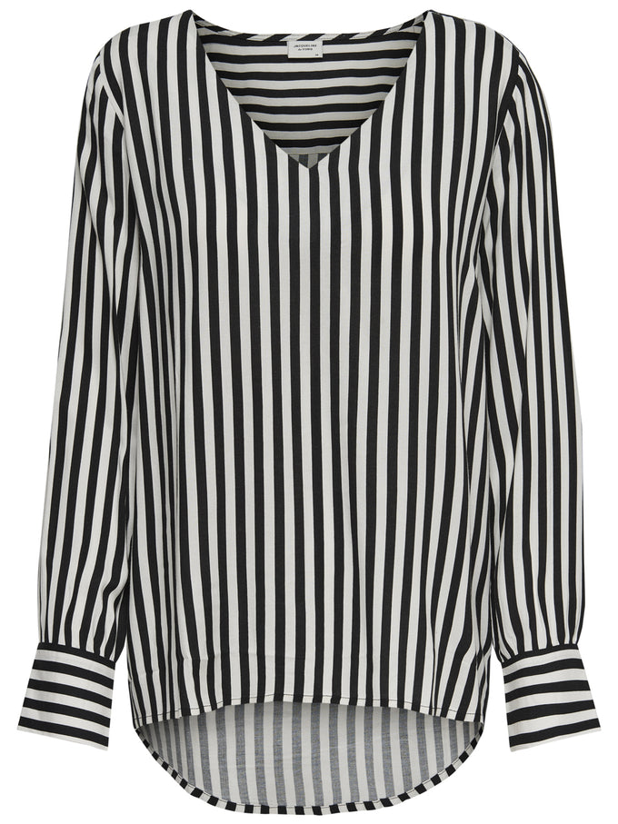 HIGH-LOW STRIPED BLOUSE Cloud Dancer