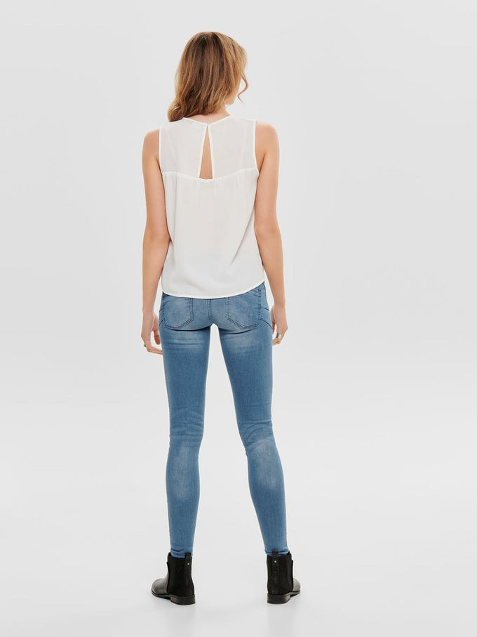 SLEEVELESS BLOUSE WITH BACK DETAIL Cloud Dancer