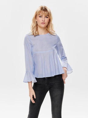 PEPLUM BLOUSE WITH BELL SLEEVES