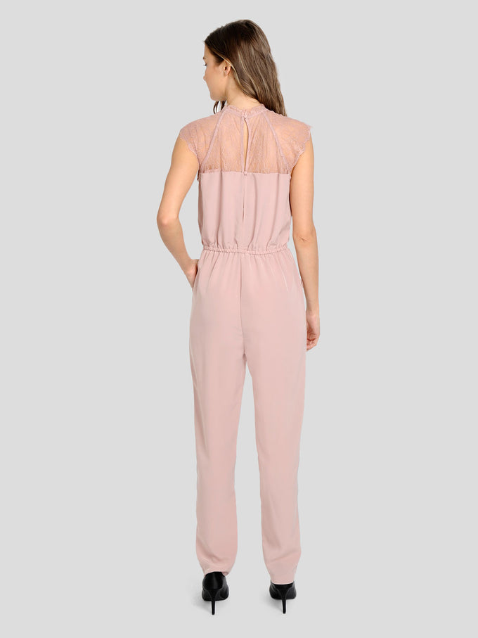 JUMPSUIT WITH LACE DETAIL Adobe Rose