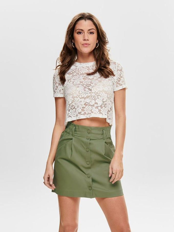 SEE-THROUGH LACE CROPPED TOP Cloud Dancer