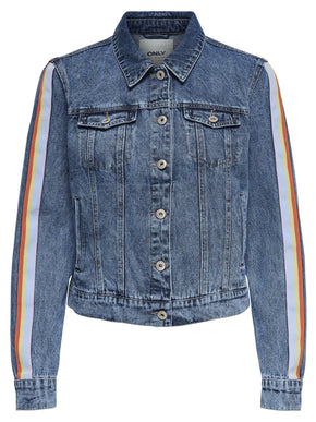 DENIM JACKET WITH RAINDOW STRIPES