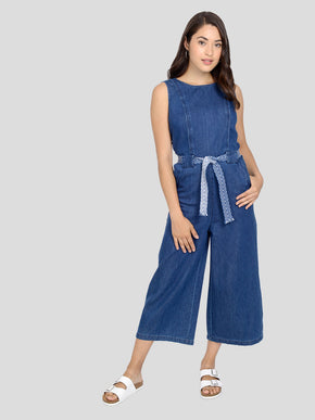 FINAL SALE – SLEEVELESS DENIM JUMPSUIT
