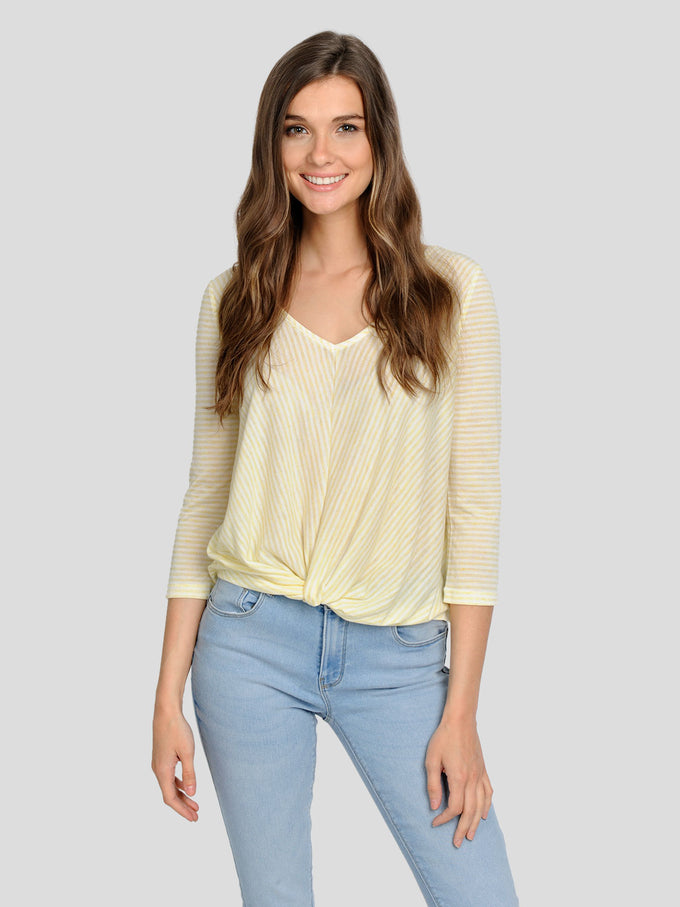 LINEN-BLEND STRIPED T-SHIRT Popcorn