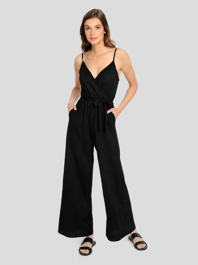 STRETCH JUMPSUIT WITH WIDE LEG Black