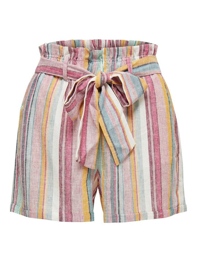 LINEN-BLEND STRIPED SHORTS Mango Mojito