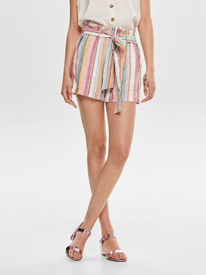 LINEN-BLEND STRIPED SHORTS