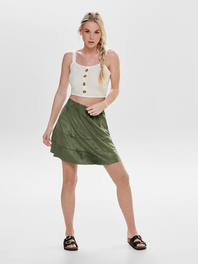 CROPPED LINEN-BLEND TOP Cloud Dancer