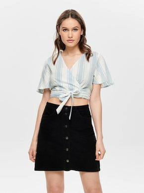CROPPED WRAP BLOUSE
