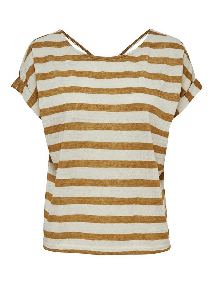 LOOSE STRIPED T-SHIRT Golden Brown