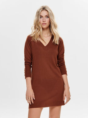 V-NECK SWEATER-DRESS
