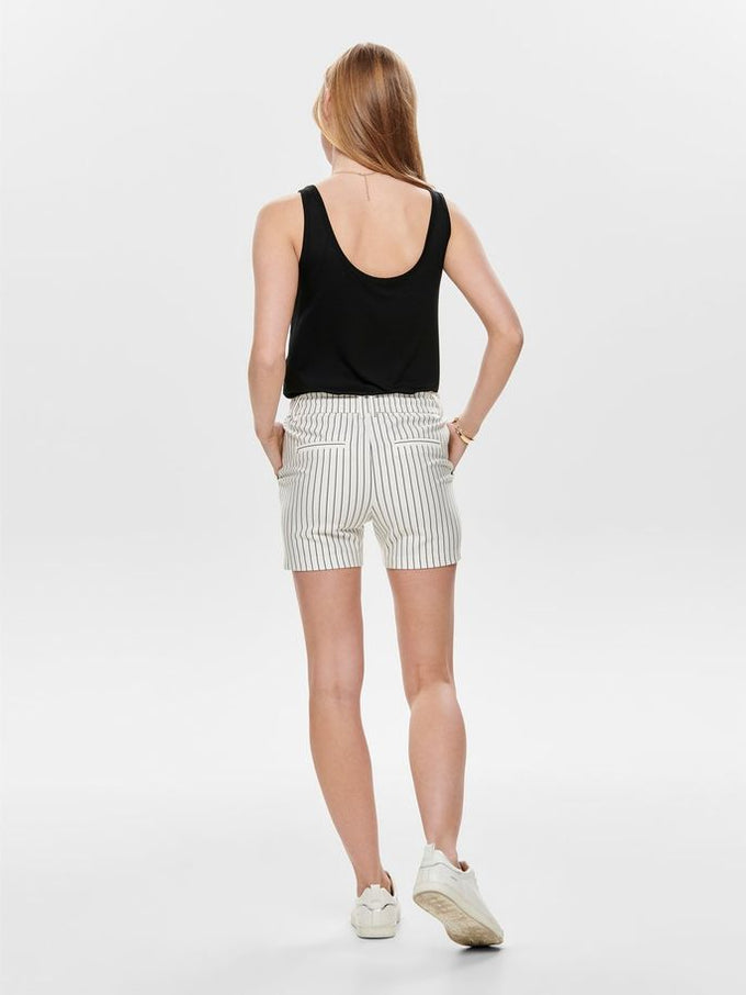 POPTRASH STRIPED JERSEY SHORTS Cloud Dancer