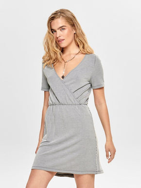 FINAL SALE – STRIPED WRAP DRESS