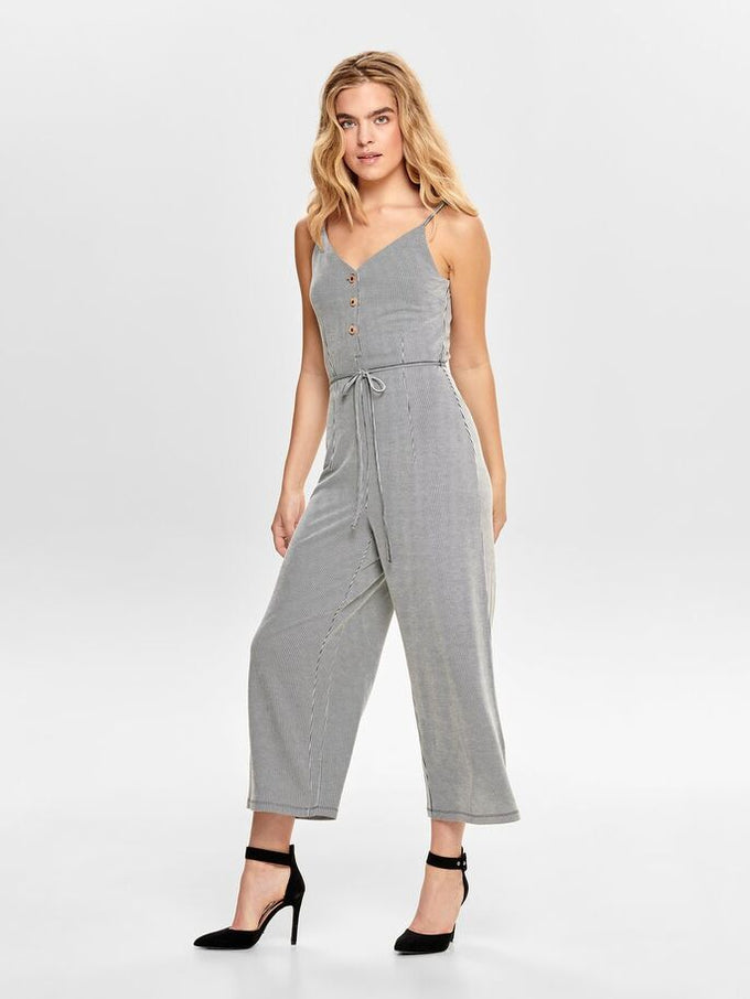 STRIPED WIDE LEG JUMPSUIT Black