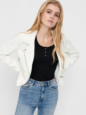 ESSENTIAL FAUX-LEATHER MOTO JACKET