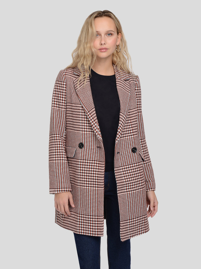 DOUBLE-BREASTED HOUNDSTOOTH JACKET Pumice Stone
