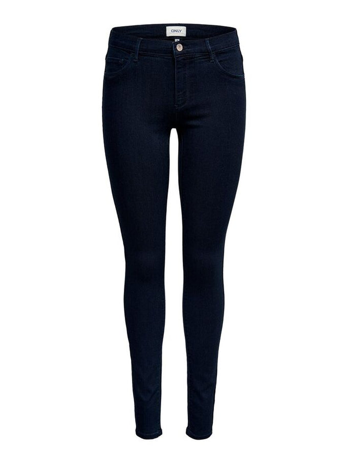 RAIN MID WAIST SKINNY FIT JEANS Dark Blue Denim