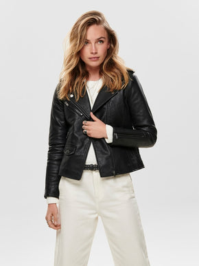 FAUX-LEATHER MOTO JACKET WITH SHERPA LINING
