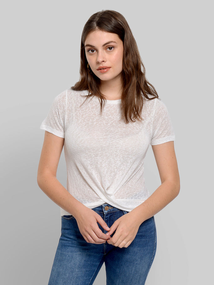 SHORT T-SHIRT WITH TWIST DETAIL Cloud Dancer