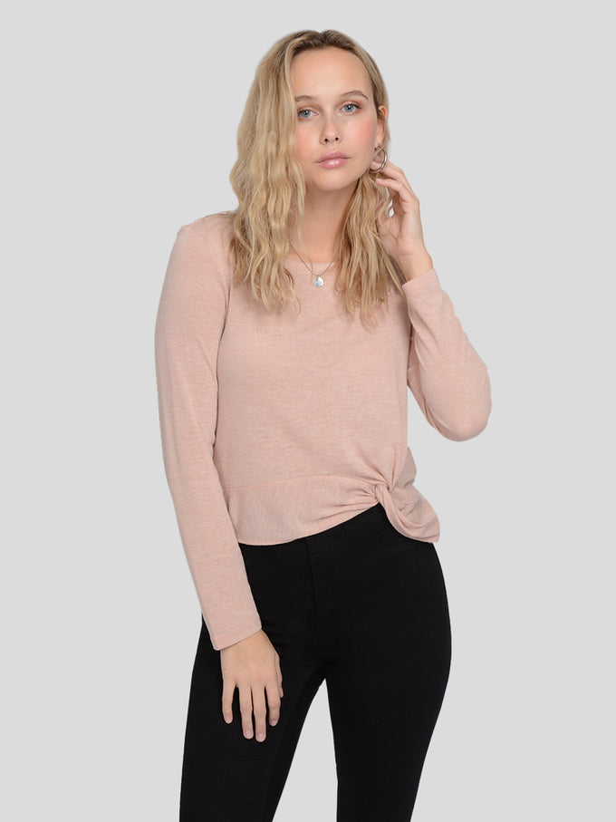LONG SLEEVE KNOT DETAILED SWEATER Misty Rose