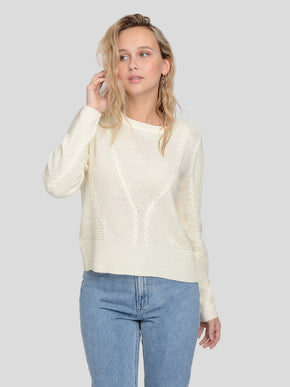 JEMMA LONG SLEEVE CABLE KNIT SWEATER