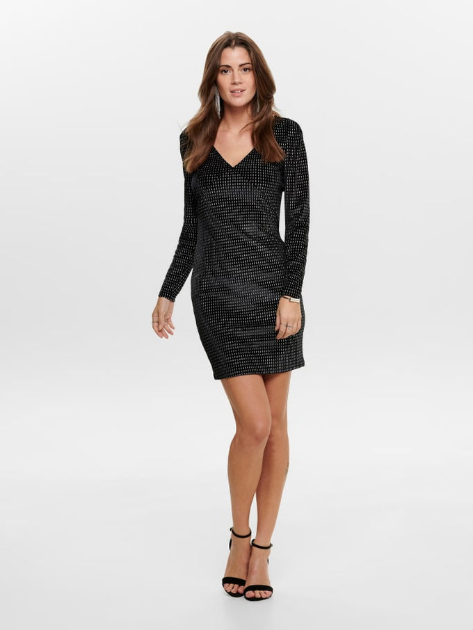 LOVABLE LONG SLEEVE GLITTER BODYCON DRESS Black