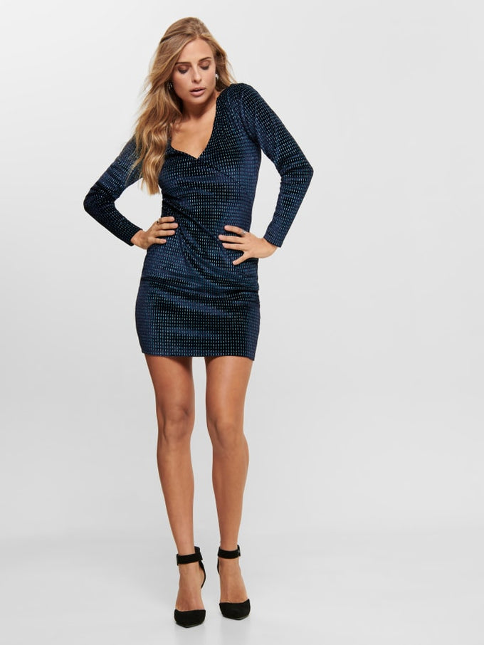 LOVABLE LONG SLEEVE GLITTER BODYCON DRESS Night Sky