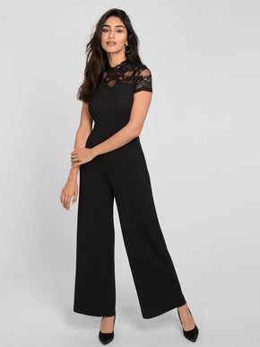 SHORT SLEEVE LACE JUMPSUIT
