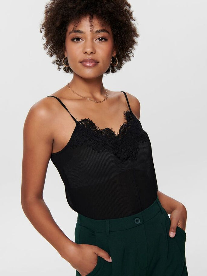 PETUNIA PLEATED CAMI WITH LACE Black