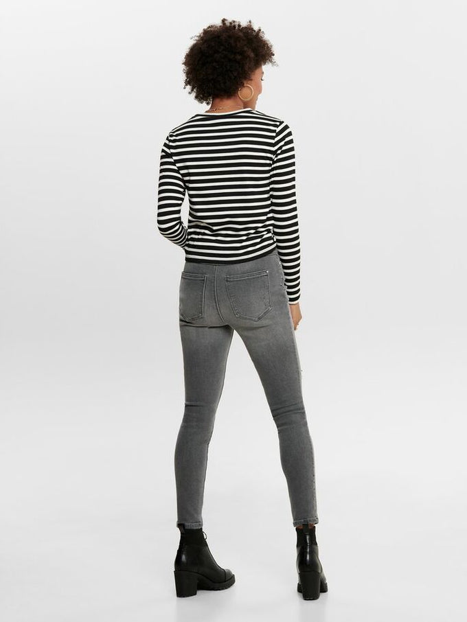 STRIPED LONG SLEEVE TOP Black