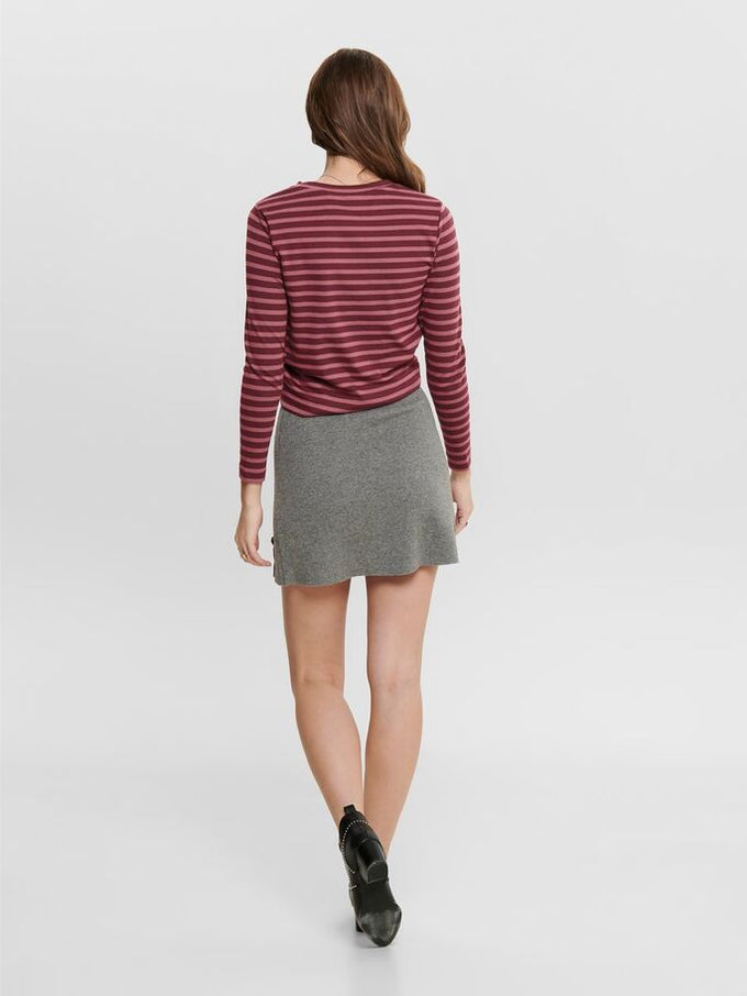 STRIPED LONG SLEEVED TOP Tawny Port