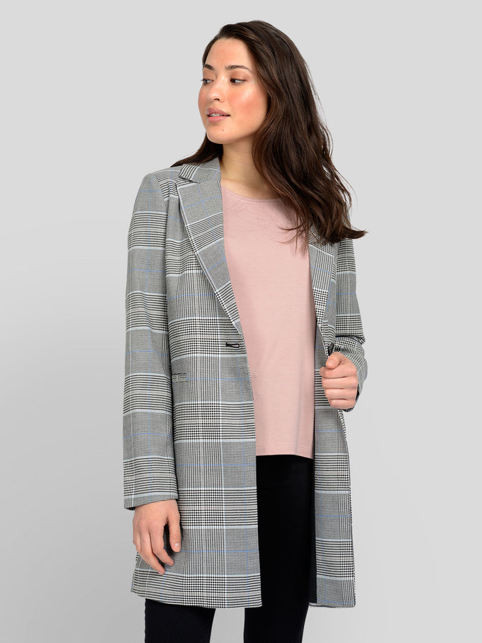 SELENA CHECKED SPRING COAT Cashmere Blue