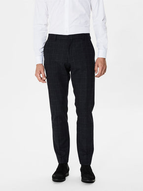 WOOL MIX CHECKERED DRESS PANTS