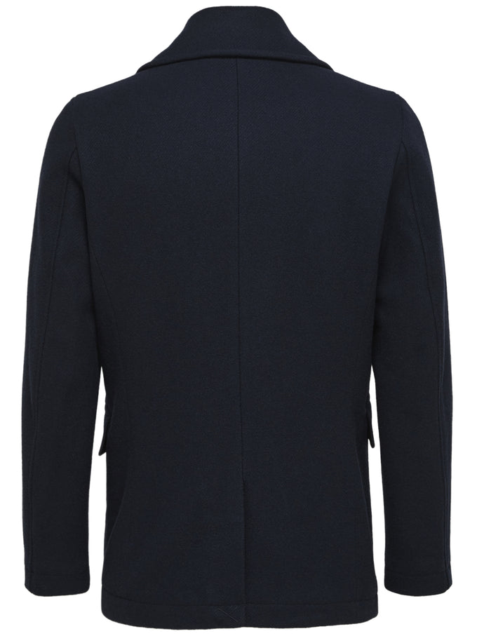 DOUBLE-BREASTED WOOL COAT Dark Navy