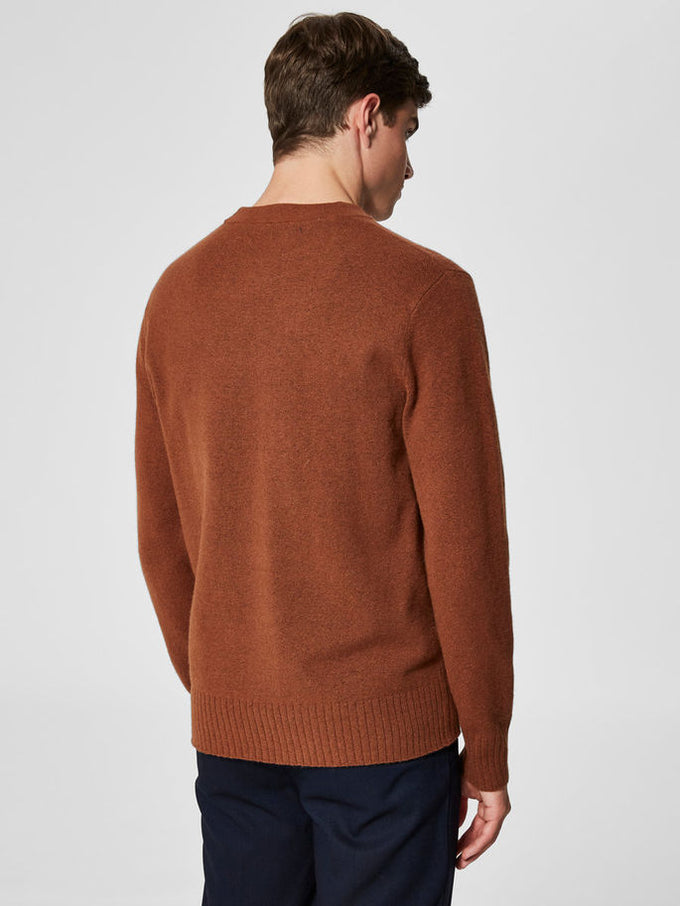 WOOL BLEND HIGH-NECK SWEATER Tortoise Shell